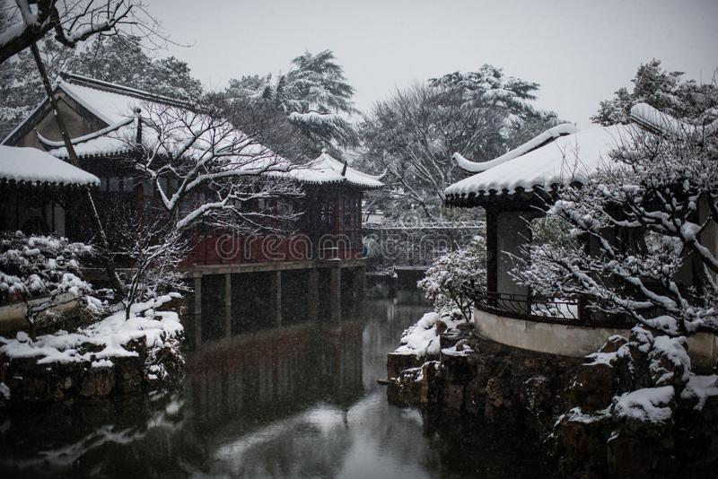 Humble Administrator`s Garden in snow, ancient suzhou, china. Humble Administrator`s Garden in snow winter, which is a UNESCO World Heritage Site in suzhou royalty free stock photos