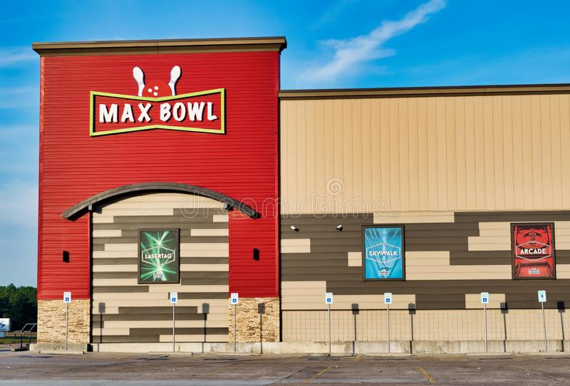 Max Bowl tenpin bowling center in Humble, Texas. royalty free stock images