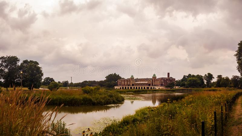 Humboldt Park Lagoon and Fieldhouse in Chicago, USA. Cultural Ce stock photos