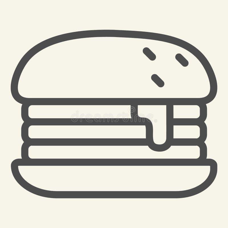 Humburger-Linie Ikone Burgervektorillustration lokalisiert auf Weiß Brötchenentwurfs-Artentwurf, bestimmt für Netz und App lizenzfreie abbildung