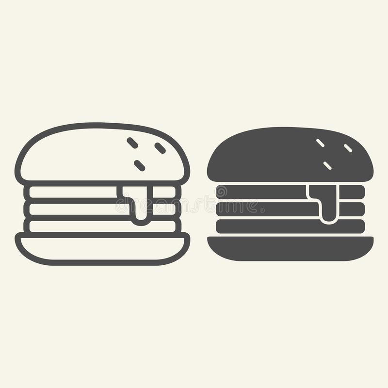 Humburger-Linie und Glyphikone Burgervektorillustration lokalisiert auf Weiß Brötchenentwurfs-Artentwurf, bestimmt für Netz stock abbildung