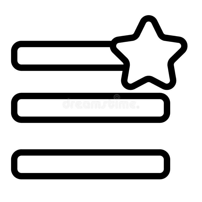 Humburger-Menü-Favoritlinie Ikone Menüzeichen mit einer Sternvektorillustration lokalisiert auf Weiß Navigation Glyphart lizenzfreie abbildung