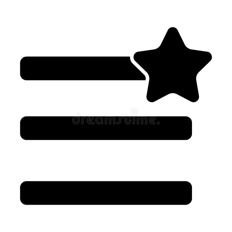 Humburger-Menüfavorit-Körperikone Menüzeichen mit einer Sternvektorillustration lokalisiert auf Weiß Navigation Glyphart stock abbildung
