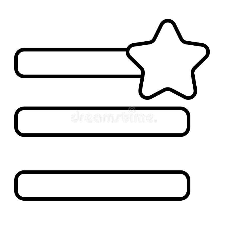 Humburger-Menüfavoriten verdünnen Linie Ikone Menüzeichen mit einer Sternvektorillustration lokalisiert auf Weiß Navigation Glyph lizenzfreie abbildung