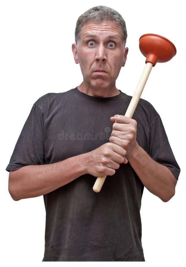 Humeur à la maison de fuite de Chambre de difficulté de plombier de réparation de bricoleur photo libre de droits
