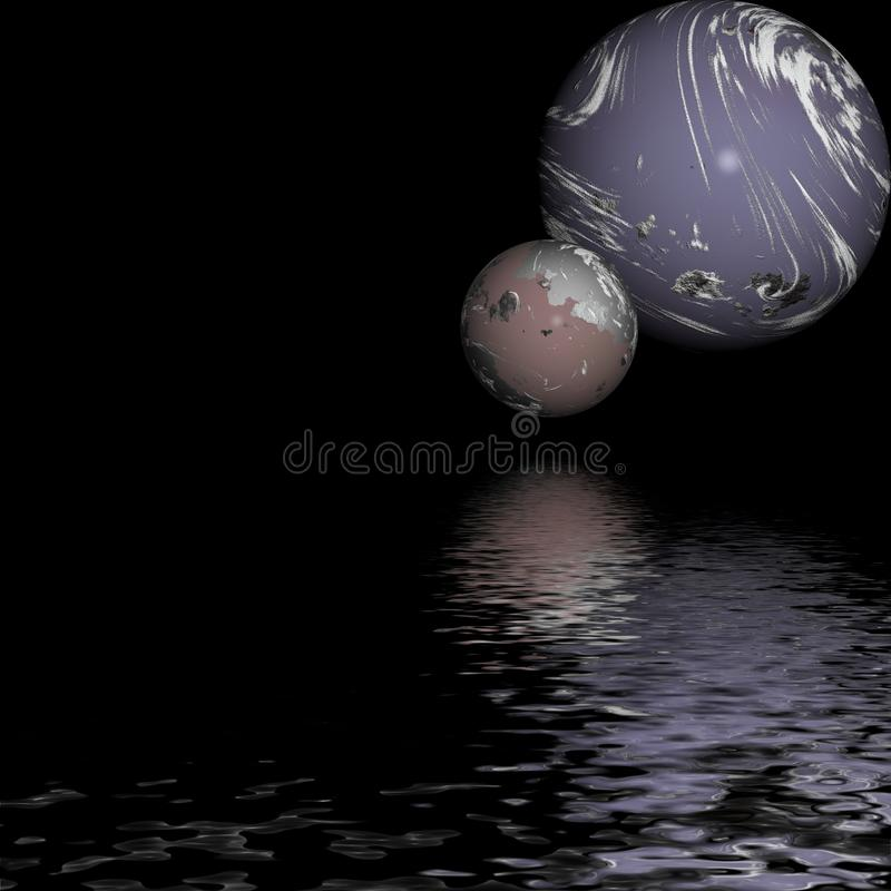 Humeurige planeten over water stock foto's
