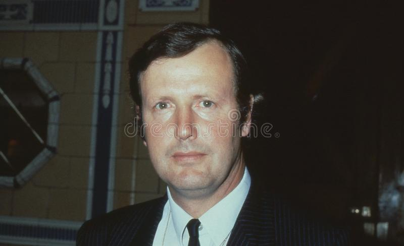 Humfrey Malins. Conservative party Member of Parliament for Croydon North West, attends the party conference in Blackpool, England on October 10, 1989 royalty free stock images