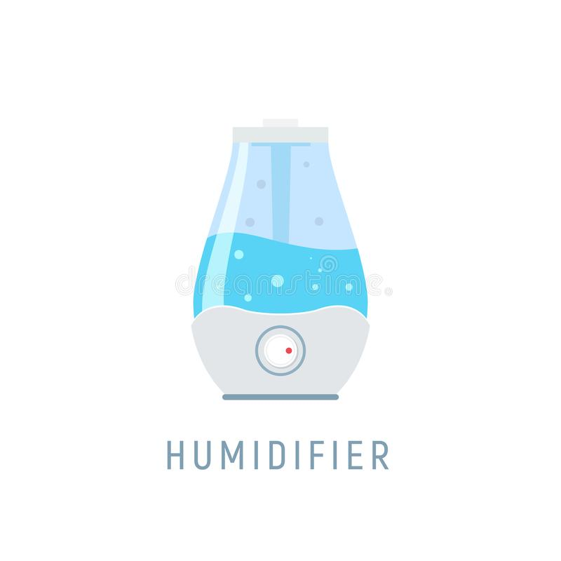 Humidifier air diffuser icon. Purifier microclimate ultrasonic home flat icon, healthy humidity.  stock illustration