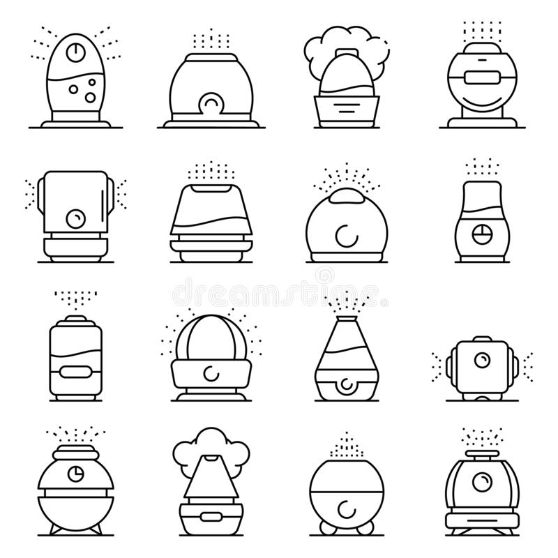 Humidifier icons set, outline style vector illustration