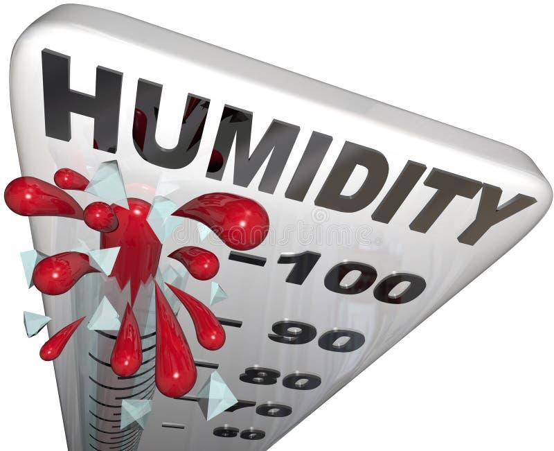 Humidité Rate Rising de niveau thermomètre de 100 pour cent illustration stock