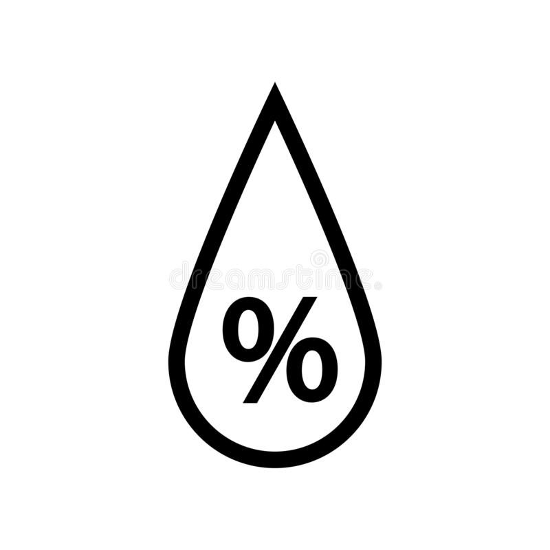 Humidity drop sign. Drop and percent sign inside royalty free illustration