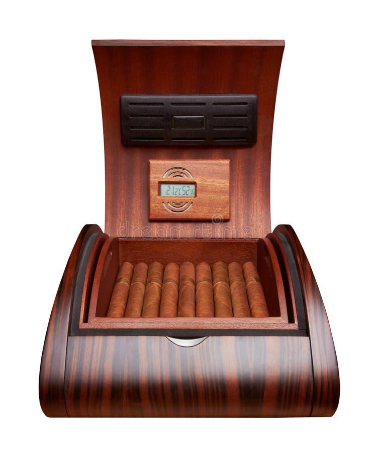 Humidor abierto con los cigarros imagen de archivo libre de regalías