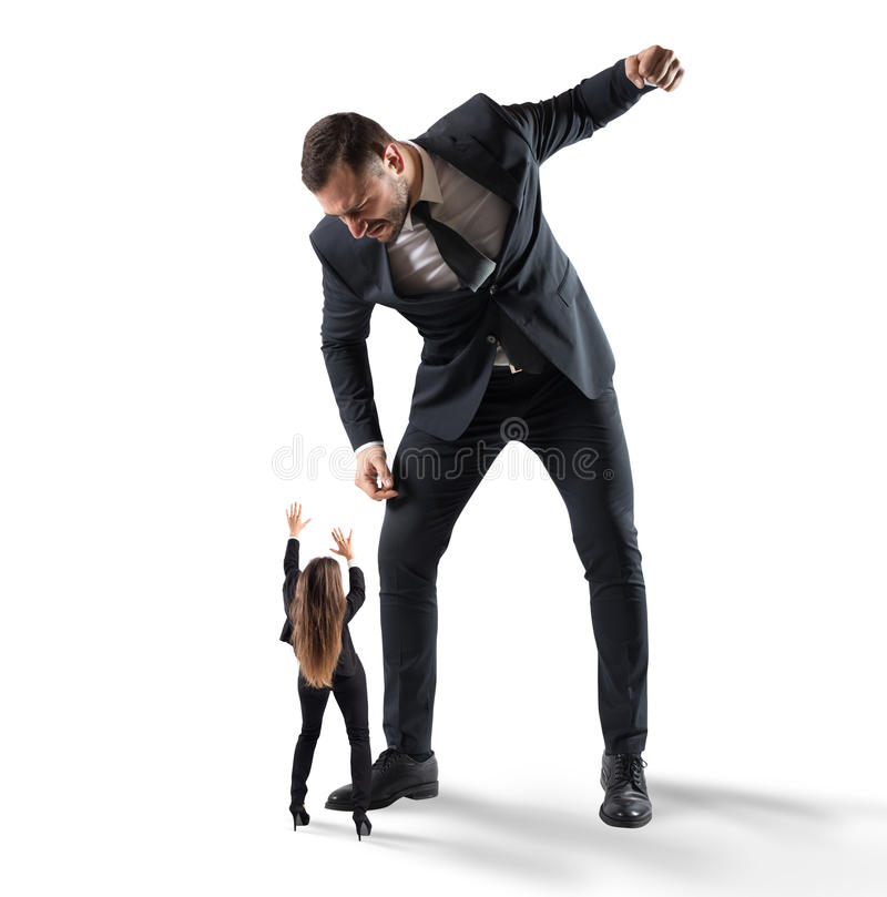 Humiliation and violence at work stock photos