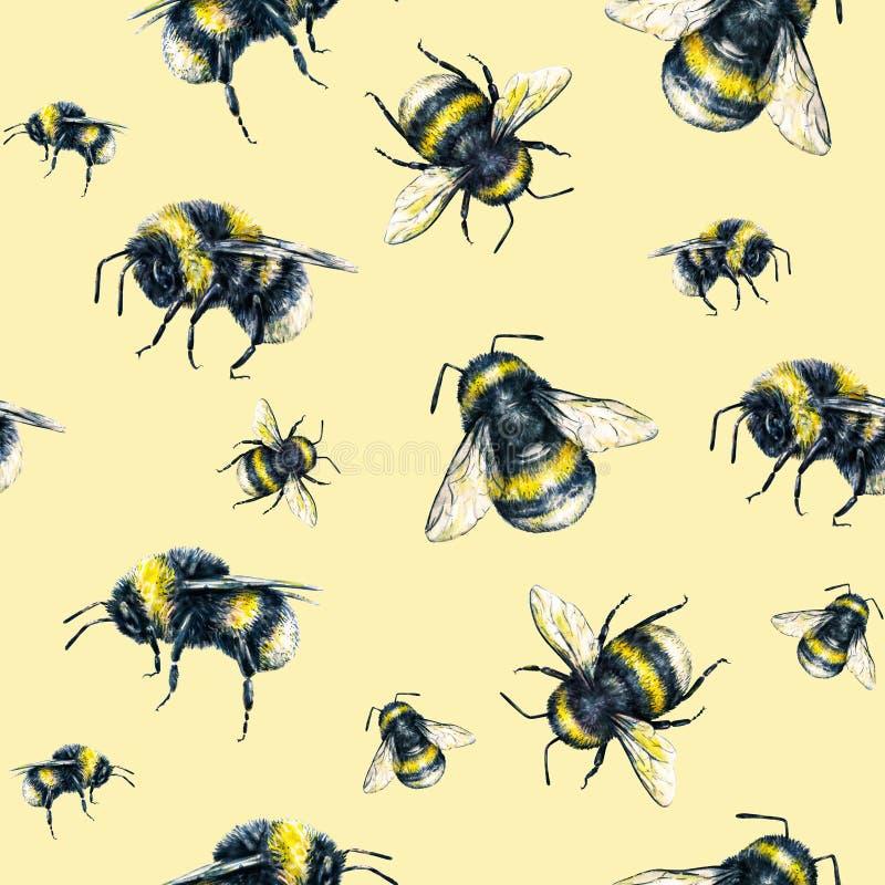 Humla på en gul bakgrund grupper som tecknar spolning för vattenfärg för blomningflodtrees Krypkonst handwork seamless modell royaltyfri illustrationer