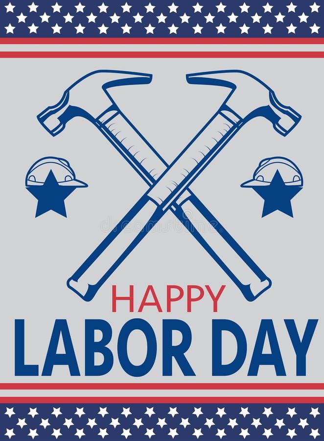 Hummer-Arbeidersillustratie voor de Dag van de Arbeid van Amerika royalty-vrije illustratie