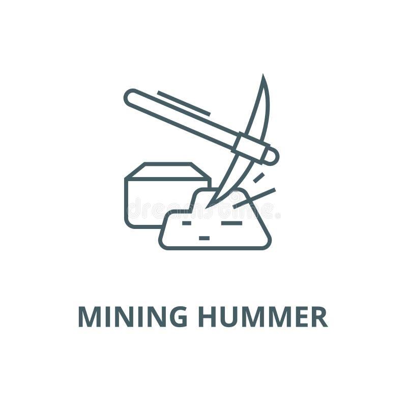 Hummer de mineração com linha ícone do vetor do ouro, conceito linear, sinal do esboço, símbolo ilustração do vetor