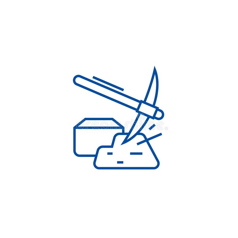 Hummer de mineração com linha conceito do ouro do ícone Hummer de mineração com símbolo liso do vetor do ouro, sinal, ilustração  ilustração stock