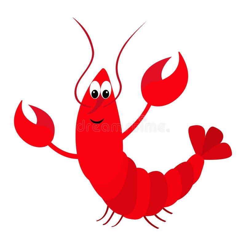 Hummer med jordluckraren Gulligt tecknad filmtecken Roligt havshavdjur Behandla som ett barn samlingen Plan design Havs- bestånds royaltyfri illustrationer