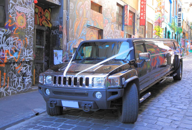 Hummer. Parked in famous Hoiser Lane Melbourne stock photos