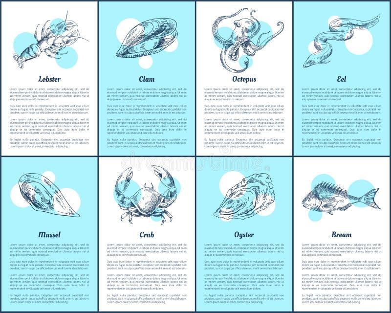 Hummer-und Brachsen-Fisch-gesetzte Vektor-Illustration vektor abbildung