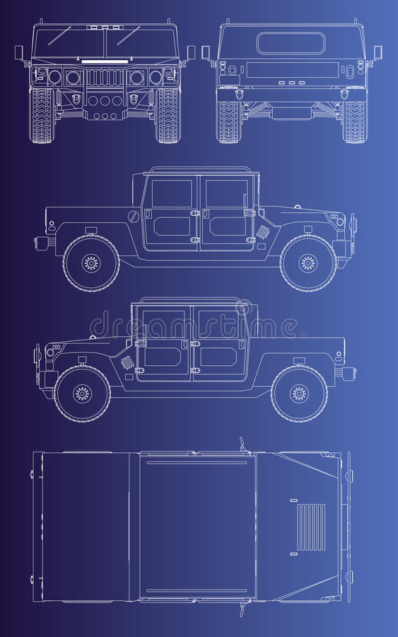 Hummer Wehicle Isolated Outline Royalty Free Stock Photo