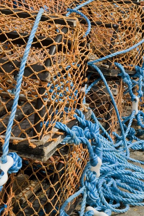 Hummer-Weidenkörbe am schottischen Hafen, Portsoy #2 stockfoto