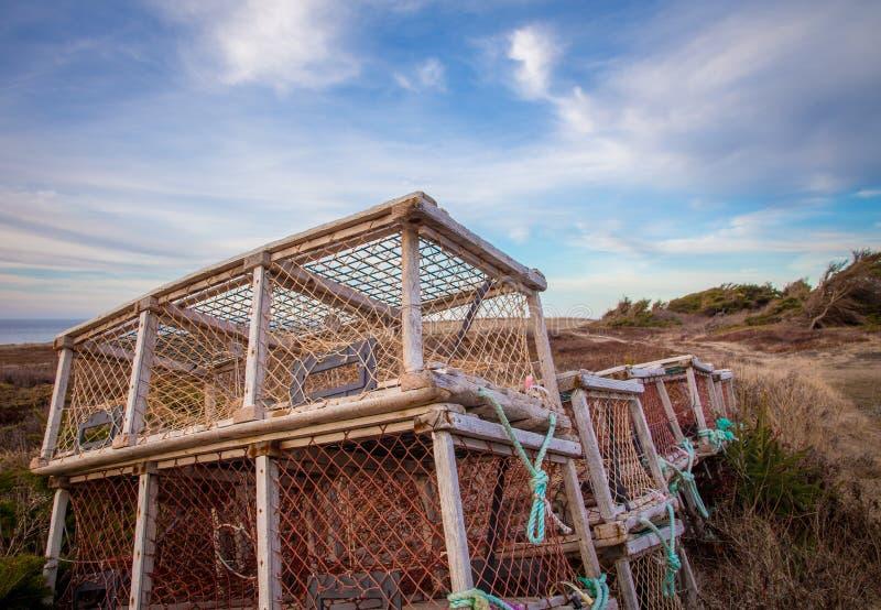 Hummerfallen in Prinzen Edward Island lizenzfreie stockfotos