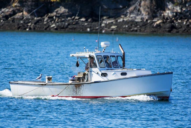 Hummerfiskebåt i höst i kust- Maine, New England arkivbild