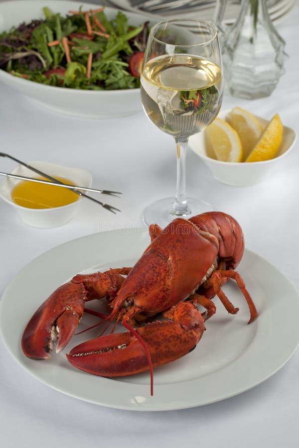 Hummermatställe med Wine royaltyfri foto
