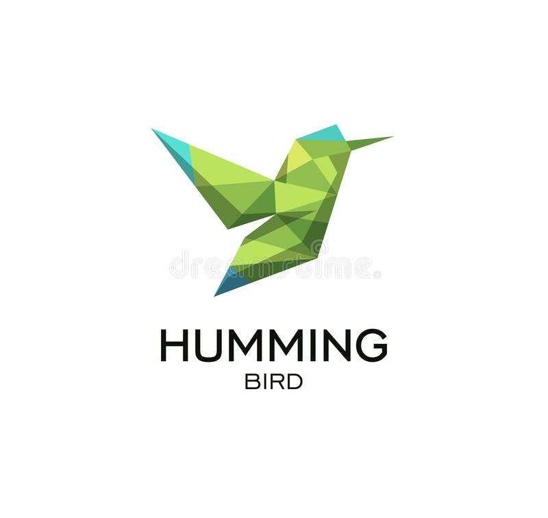 Hummig鸟几何标志, calibri抽象多角形传染媒介商标模板 低Origami绿色多野生动物 向量例证