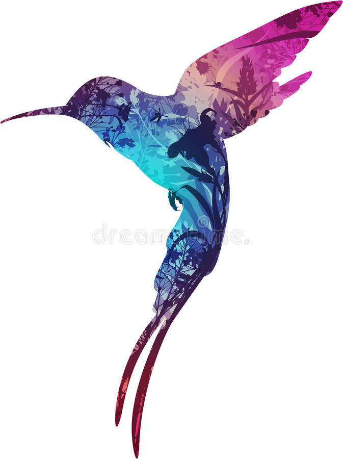 Humming-bird. Silhouette flying hummingbirds. within the different flowers and insects, white background