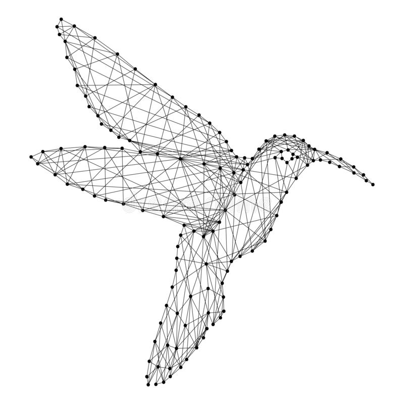 Hummingbird colibri flying bird from abstract futuristic polygonal black lines and dots. Vector illustration stock illustration