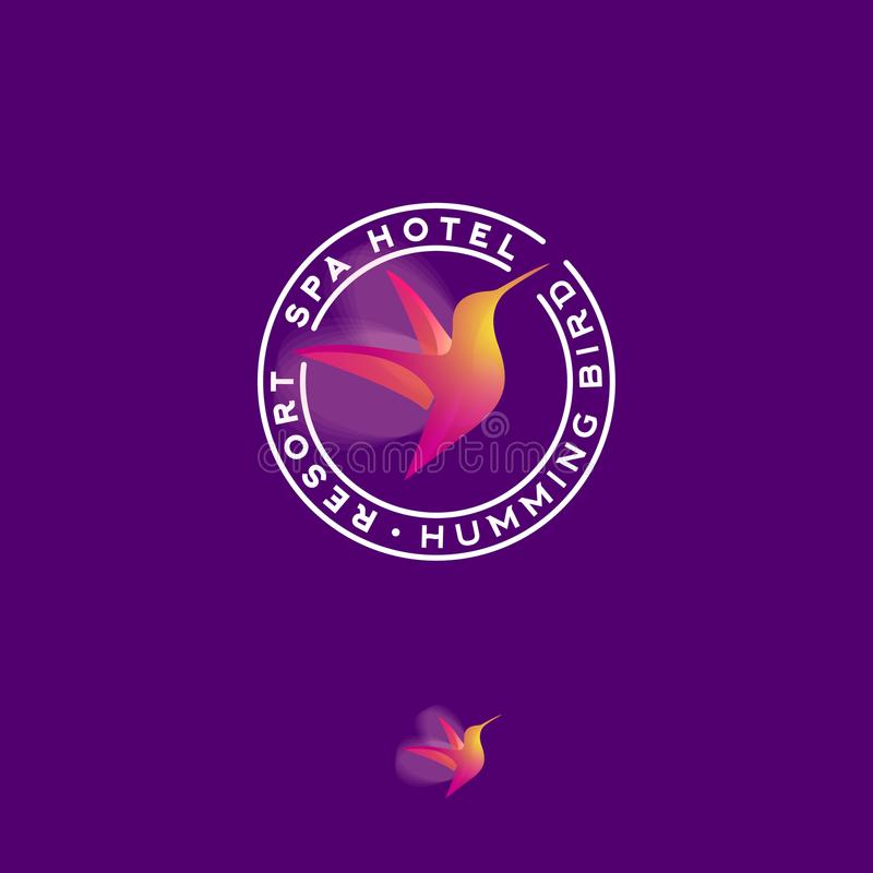 Hummingbird color transparent logo. Spa and resort emblem. A flying colibri bird and letters. royalty free illustration
