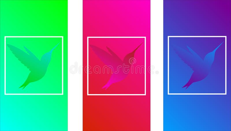 Hummingbird colored, soft color gradients, tropical bird symbol, modern design for phone screen, wavy color, iridescent smooth des stock illustration