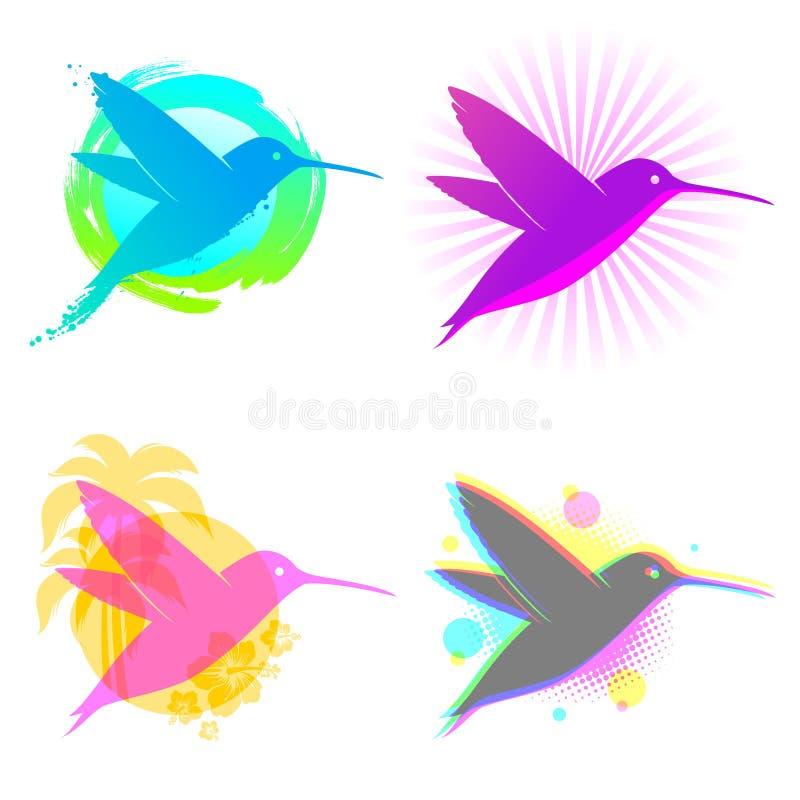 Hummingbird emblems vector illustration