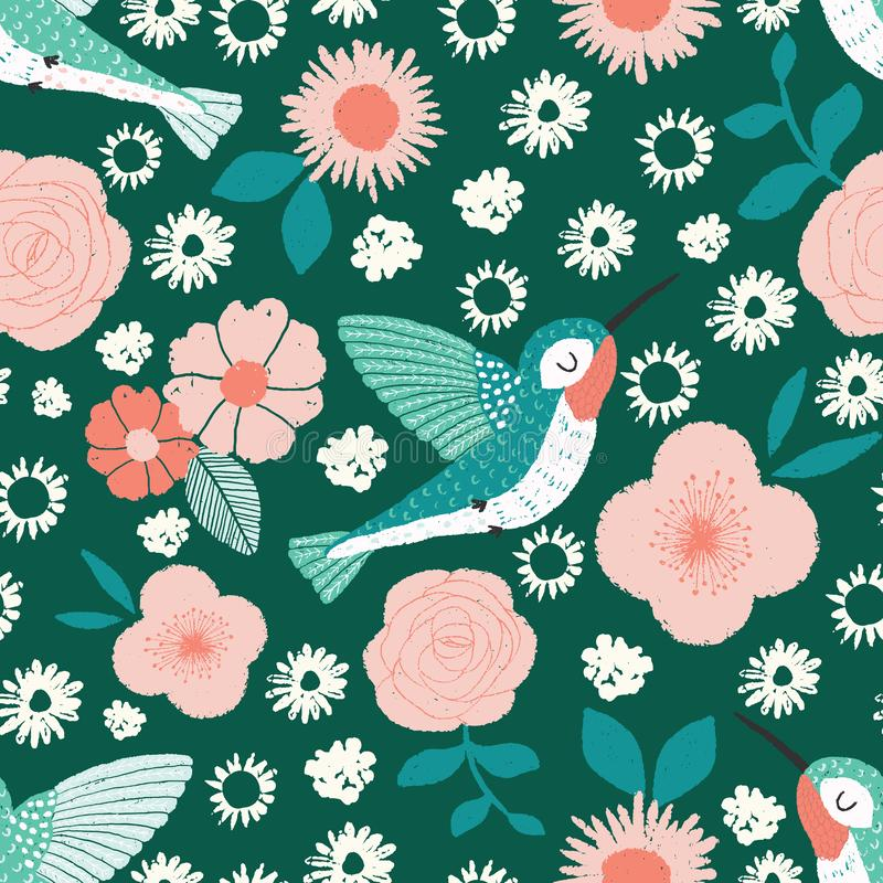 Hummingbird garden vector seamless pattern with birds and flowers on a green background stock illustration