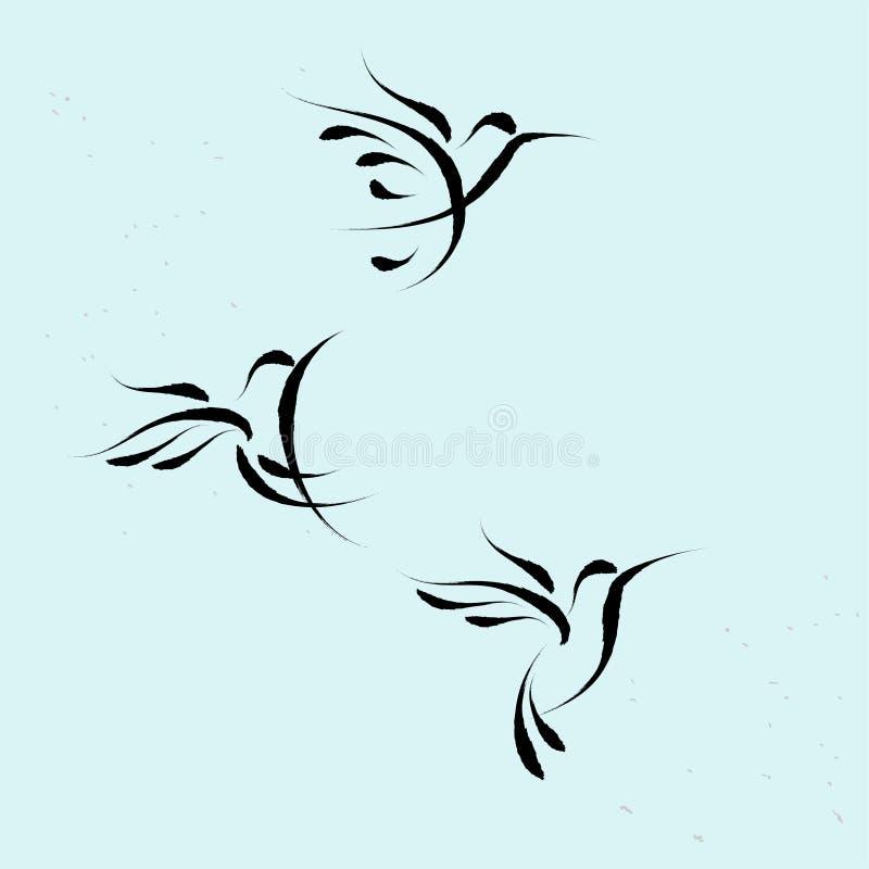 Hummingbird latający symbol z brushwork stylem ilustracji