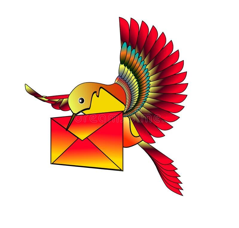 hummingbird list royalty ilustracja