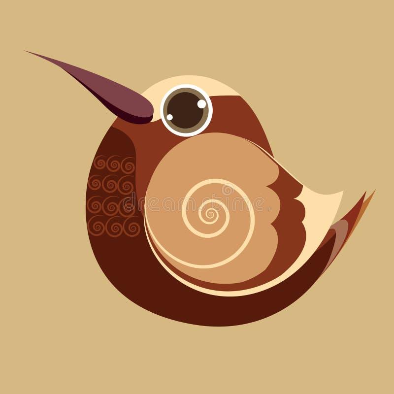 Hummingbird palcowy ptasi śliczny abstrakcjonistyczny prehistoryczny kolor ilustracja wektor