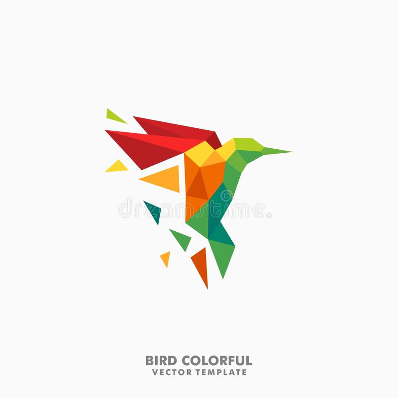 Hummingbird Polygon color full Concept illustration vector Design template vector illustration