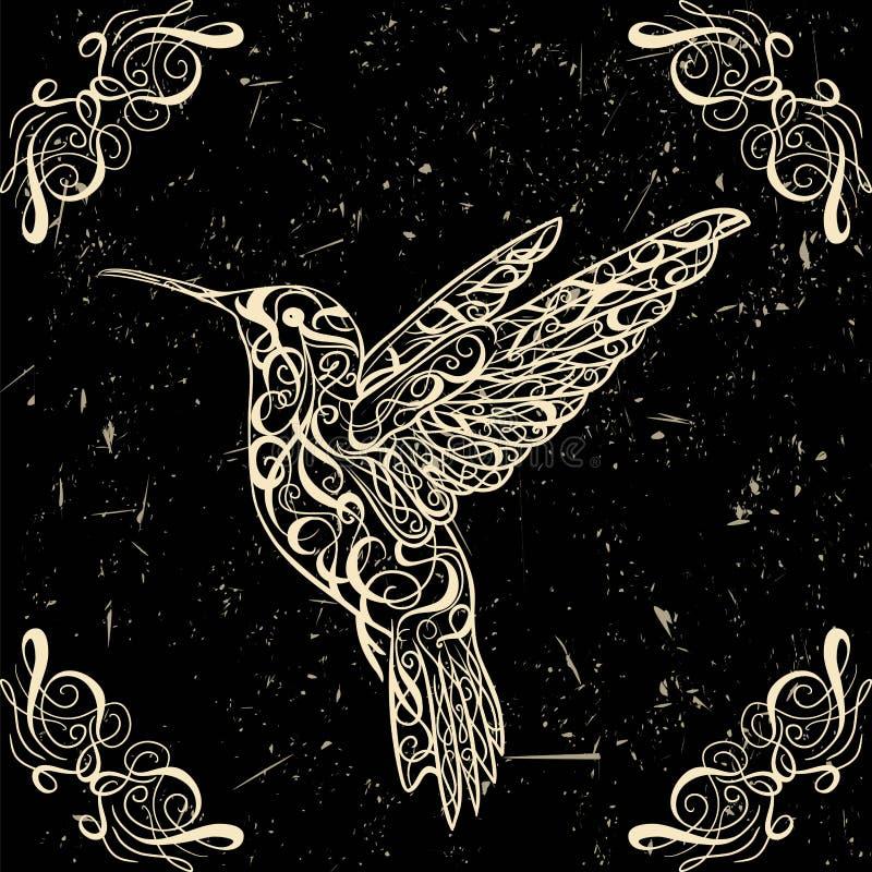 Hummingbird. Tattoo art. Retro banner, invitation,card, scrap booking. t-shirt, bag, postcard, poster. Highly detailed vintage style hand drawn vector royalty free illustration