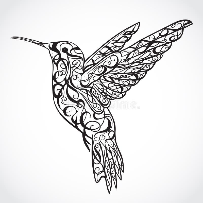 hummingbird Tatueringkonst Modell Retro baner, inbjudan, kort, restbokning t-skjorta påse, vykort, affisch stock illustrationer