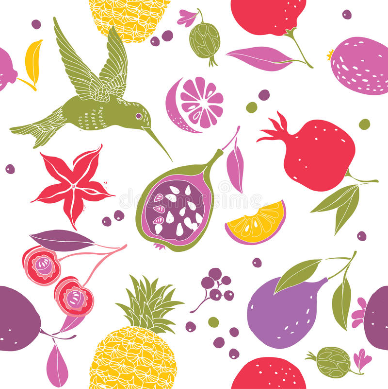 Hummingbird and various fruits pattern stock illustration