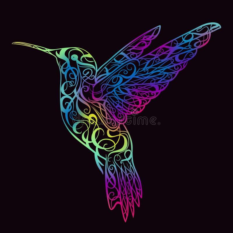 Hummingbird z kwiecistym ornamentem Projekta pojęcie dla druku, karta, plakat royalty ilustracja