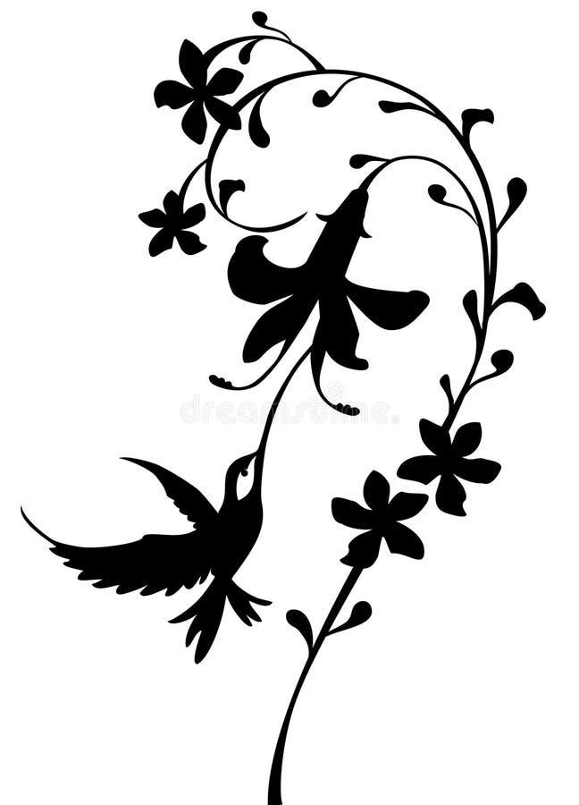 hummingbirdsilhouette vektor illustrationer