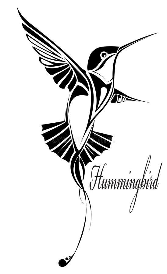 hummingbirdtatuering stock illustrationer