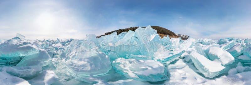 Hummocks of of lake baikal ice, panorama 360 degrees equirectangular projection royalty free stock photos