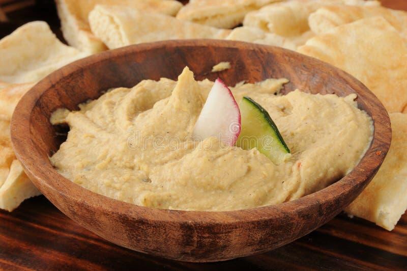 Hummus用大蒜和香料 免版税库存图片