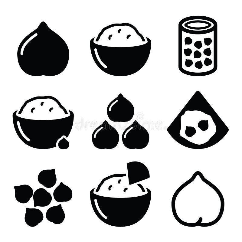 Hummus или houmous, установленные значки нутов иллюстрация вектора