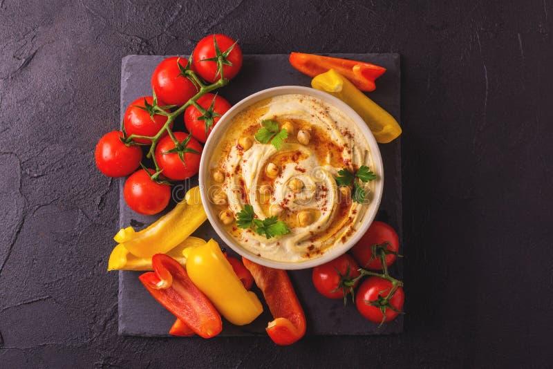 Hummus и нут Еврейская кухня Взгляд сверху стоковые фото
